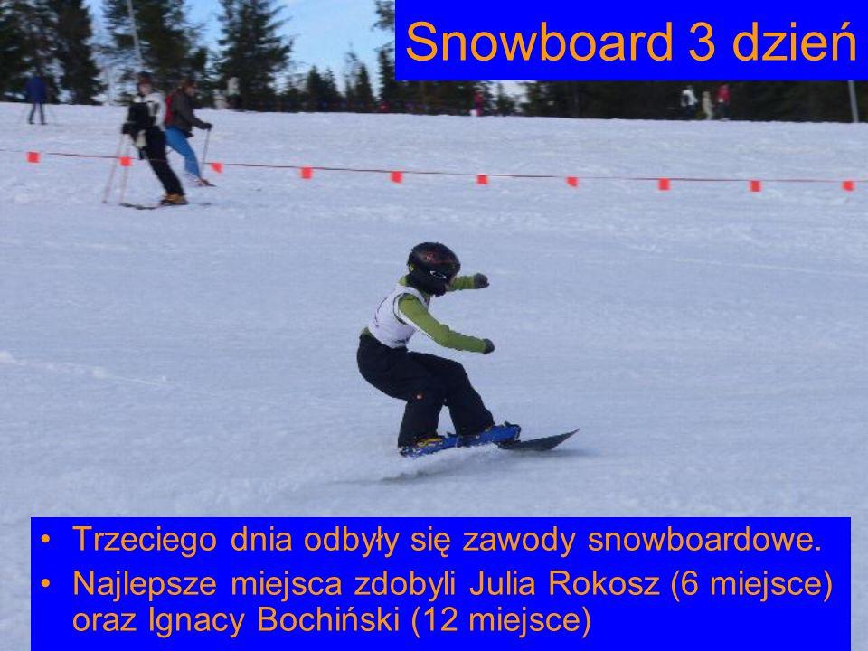 Snowboard 3 dzień Trzeciego dnia odbyły się zawody snowboardowe.