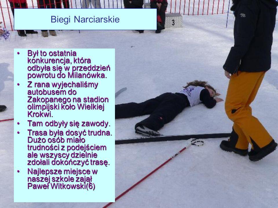 Biegi Narciarskie Był to ostatnia konkurencja, która odbyła się w przeddzień powrotu do Milanówka.Był to ostatnia konkurencja, która odbyła się w przeddzień powrotu do Milanówka.