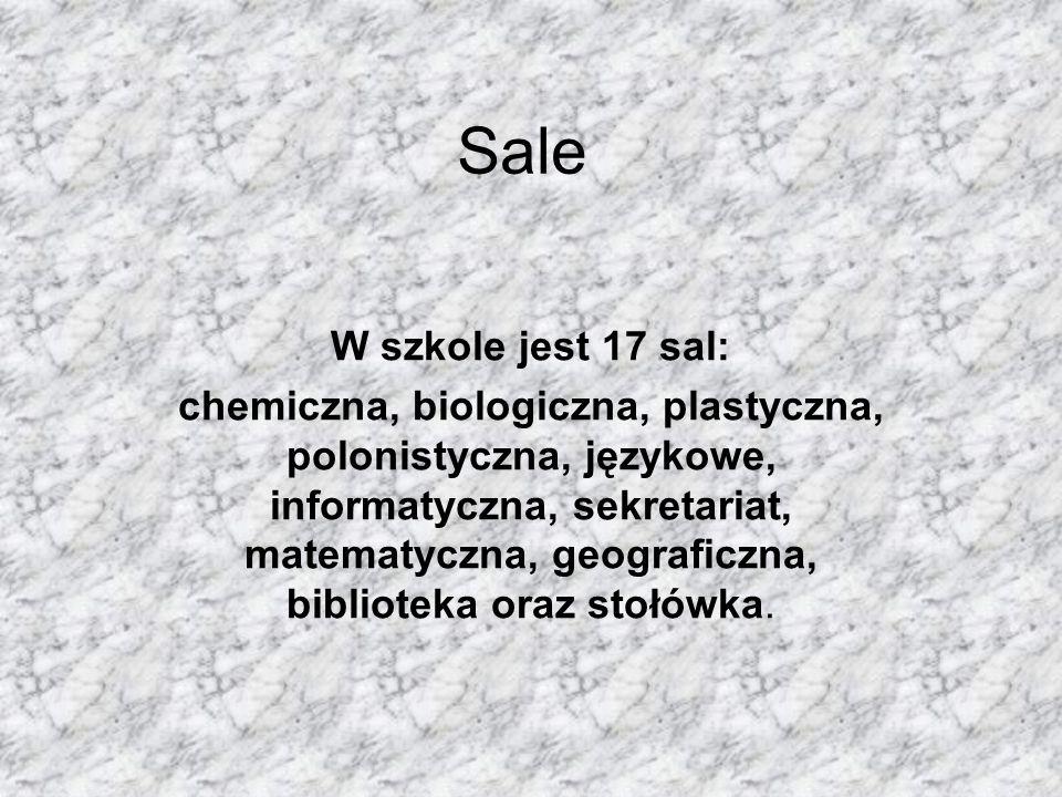 Sale W szkole jest 17 sal: chemiczna, biologiczna, plastyczna, polonistyczna, językowe, informatyczna, sekretariat, matematyczna, geograficzna, biblio