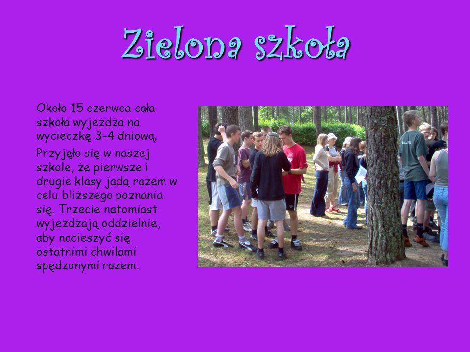 Zielona szkoła Około 15 czerwca cała szkoła wyjeżdża na wycieczkę 3-4 dniową. Przyjęło się w naszej szkole, że pierwsze i drugie klasy jadą razem w ce