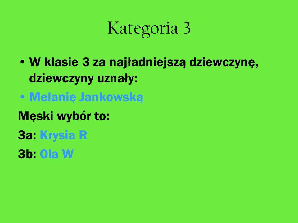 Kategoria 3 W klasie 3 za najładniejszą dziewczynę, dziewczyny uznały: Melanię Jankowską Męski wybór to: 3a: Krysia R 3b: Ola W