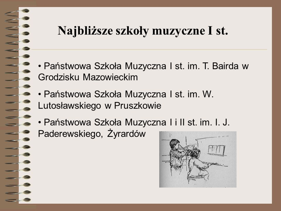 Państwowa Szkoła Muzyczna I st. im. T. Bairda w Grodzisku Mazowieckim Państwowa Szkoła Muzyczna I st. im. W. Lutosławskiego w Pruszkowie Państwowa Szk