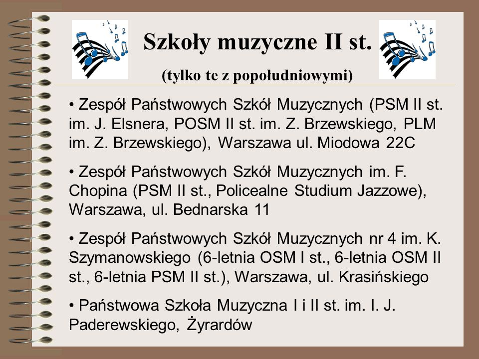 Zespół Państwowych Szkół Muzycznych (PSM II st. im. J. Elsnera, POSM II st. im. Z. Brzewskiego, PLM im. Z. Brzewskiego), Warszawa ul. Miodowa 22C Zesp