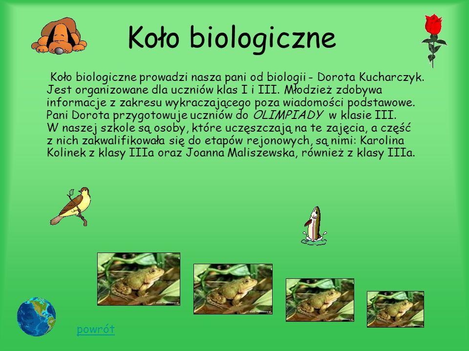 Koło biologiczne Koło biologiczne prowadzi nasza pani od biologii - Dorota Kucharczyk.