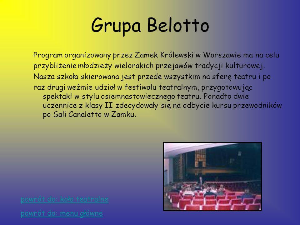 Koło teatralne Pani Iwona Dornarowicz stworzyła w naszej szkole 5 grup teatralnych: –grupa Bellottogrupa Bellotto –Pantomima –grupa poważna –grupa kab