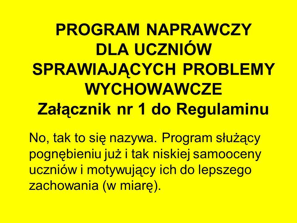 PROGRAM NAPRAWCZY DLA UCZNIÓW SPRAWIAJĄCYCH PROBLEMY WYCHOWAWCZE Załącznik nr 1 do Regulaminu No, tak to się nazywa. Program służący pognębieniu już i