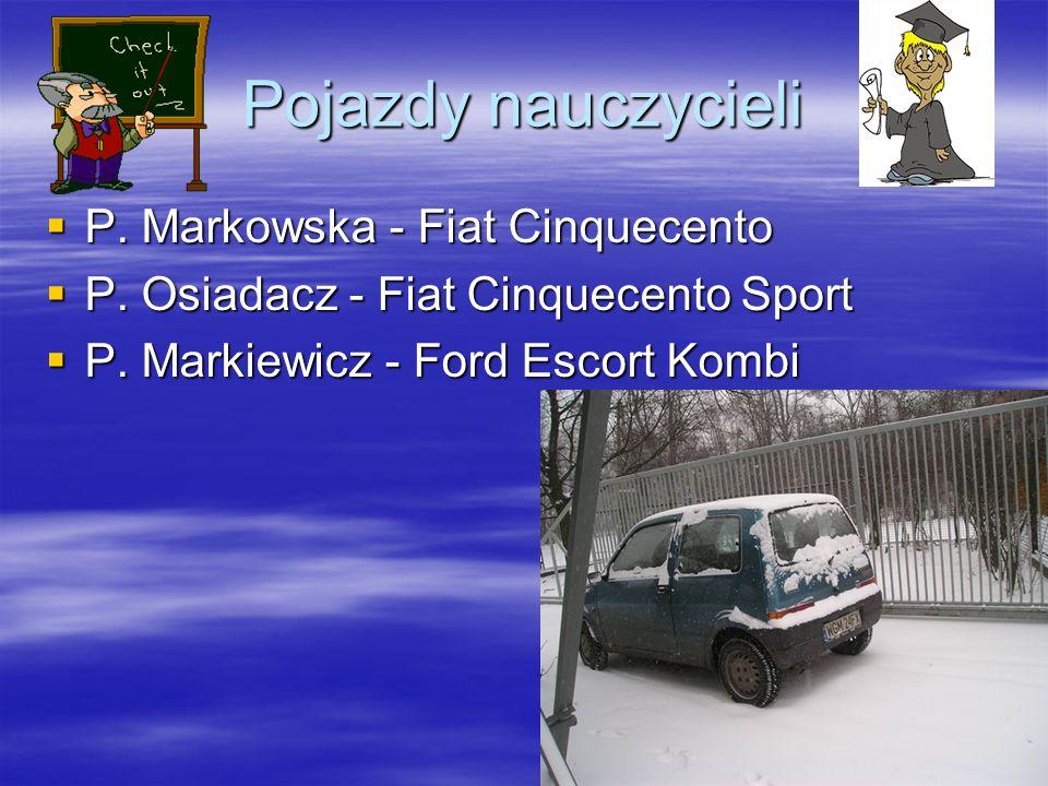 Pojazdy nauczycieli P. Markowska - Fiat Cinquecento P. Markowska - Fiat Cinquecento P. Osiadacz - Fiat Cinquecento Sport P. Osiadacz - Fiat Cinquecent