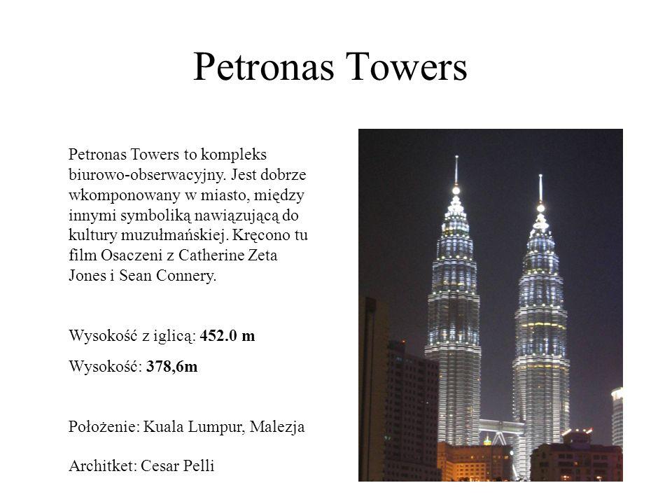 Petronas Towers Petronas Towers to kompleks biurowo-obserwacyjny. Jest dobrze wkomponowany w miasto, między innymi symboliką nawiązującą do kultury mu