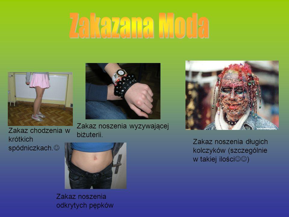 Zakaz chodzenia w krótkich spódniczkach. Zakaz noszenia wyzywającej biżuterii. Zakaz noszenia długich kolczyków (szczególnie w takiej ilości ) Zakaz n