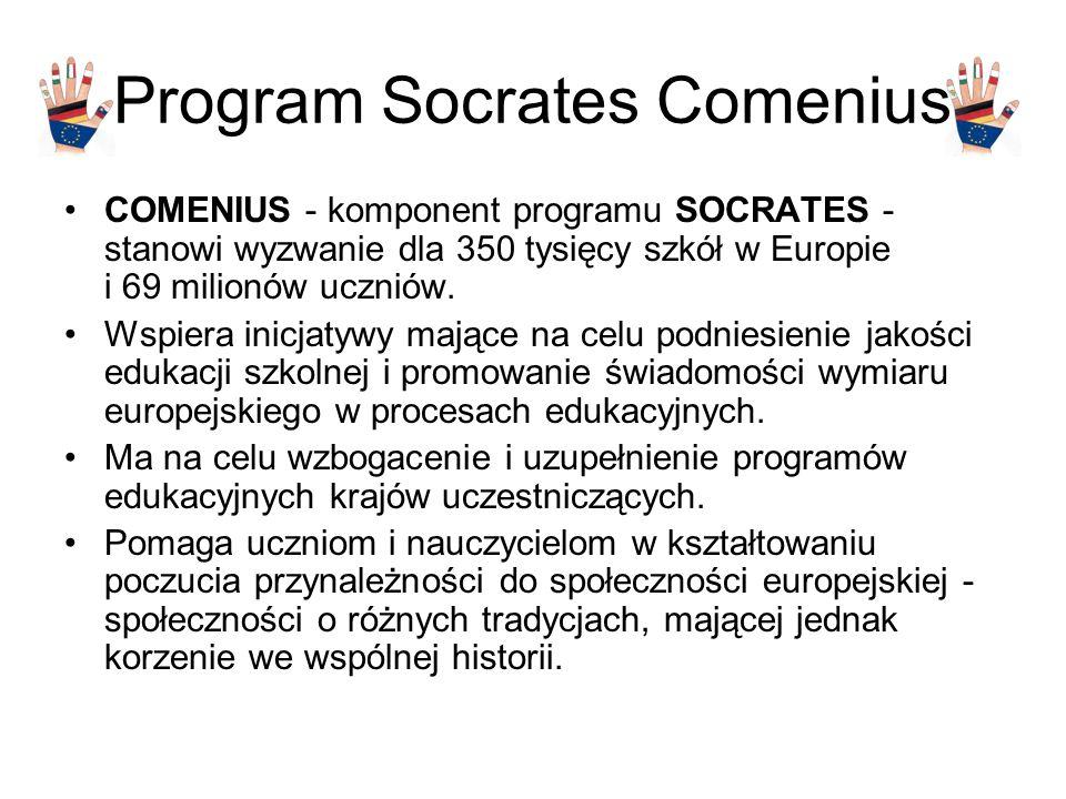 Program Socrates Comenius COMENIUS - komponent programu SOCRATES - stanowi wyzwanie dla 350 tysięcy szkół w Europie i 69 milionów uczniów.
