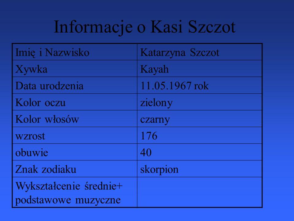 Informacje o Kasi Szczot Imię i NazwiskoKatarzyna Szczot XywkaKayah Data urodzenia11.05.1967 rok Kolor oczuzielony Kolor włosówczarny wzrost176 obuwie40 Znak zodiakuskorpion Wykształcenie średnie+ podstawowe muzyczne