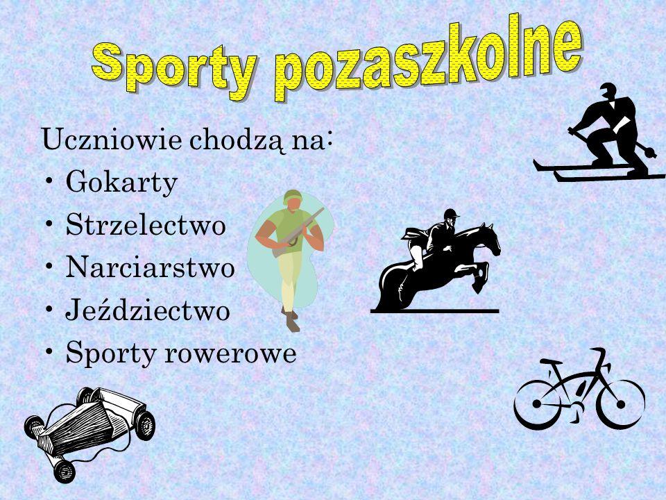 Uczniowie chodzą na: Gokarty Strzelectwo Narciarstwo Jeździectwo Sporty rowerowe