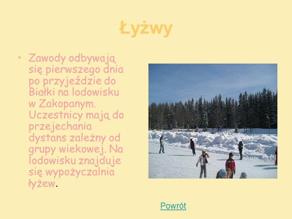 Łyżwy Zawody odbywają się pierwszego dnia po przyjeździe do Białki na lodowisku w Zakopanym. Uczestnicy mają do przejechania dystans zależny od grupy