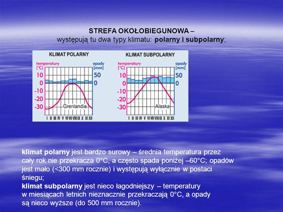 STREFA OKOŁOBIEGUNOWA – występują tu dwa typy klimatu: polarny i subpolarny; klimat polarny jest bardzo surowy – średnia temperatura przez cały rok ni