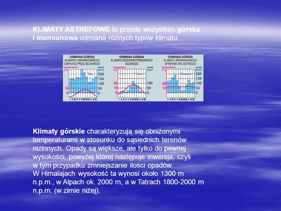KLIMATY ASTREFOWE to przede wszystkim górska i monsunowa odmiana różnych typów klimatu. Klimaty górskie charakteryzują się obniżonymi temperaturami w