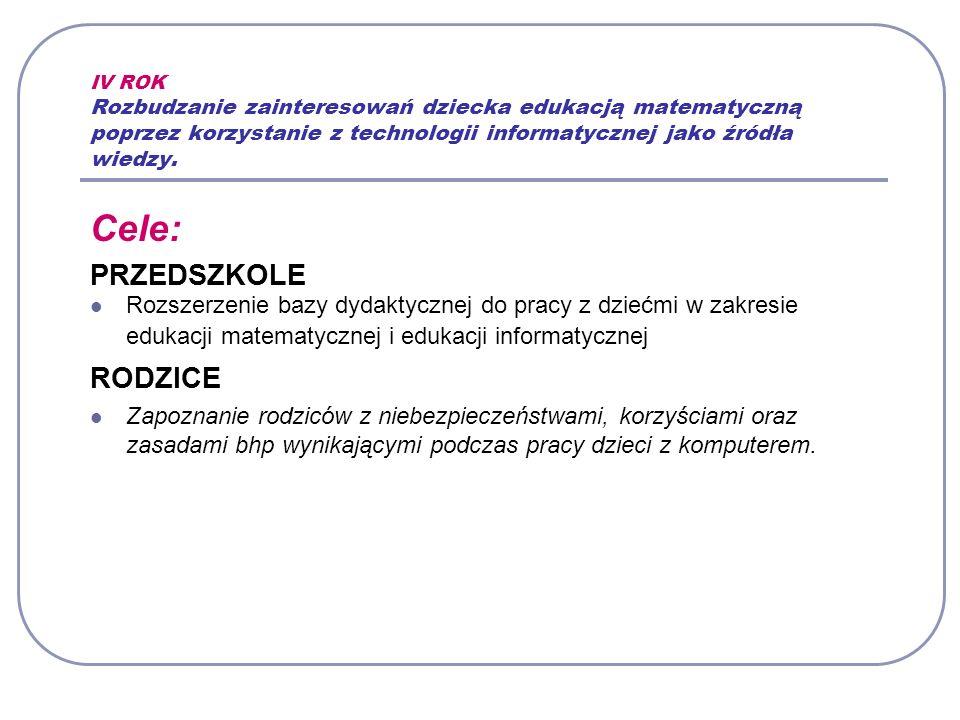 IV ROK Rozbudzanie zainteresowań dziecka edukacją matematyczną poprzez korzystanie z technologii informatycznej jako źródła wiedzy.
