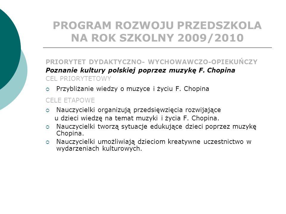 PROGRAM ROZWOJU PRZEDSZKOLA NA ROK SZKOLNY 2009/2010 PRIORYTET DYDAKTYCZNO- WYCHOWAWCZO-OPIEKUŃCZY Poznanie kultury polskiej poprzez muzykę F.