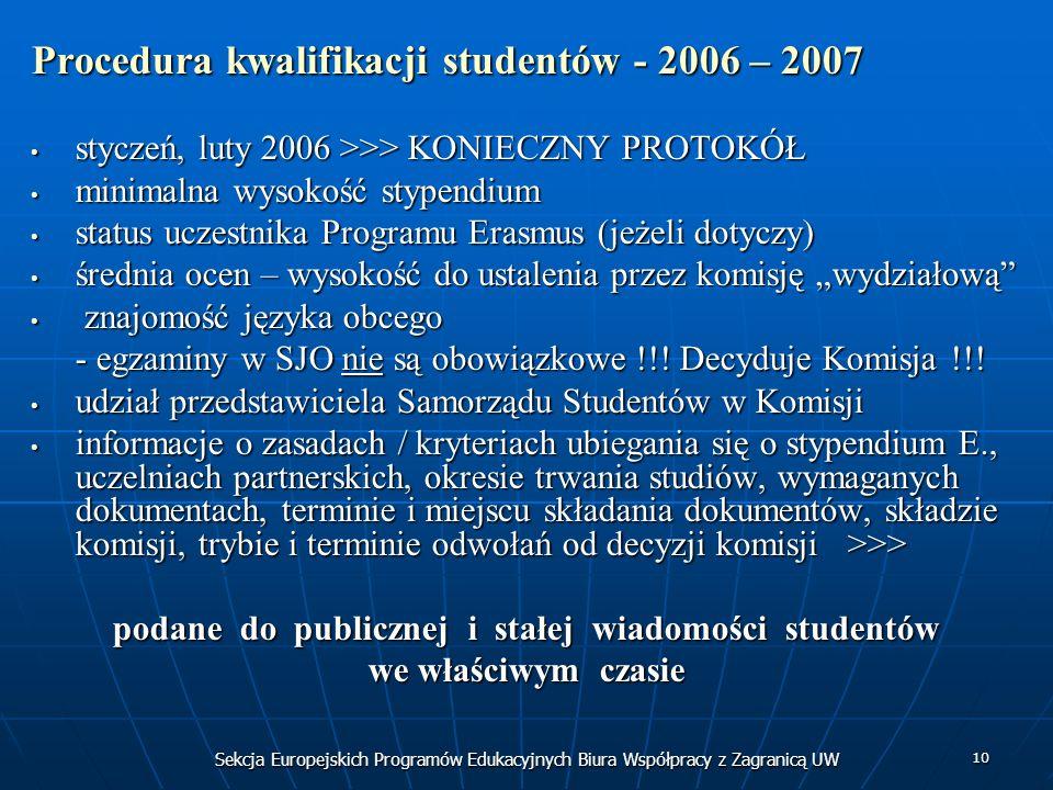 Sekcja Europejskich Programów Edukacyjnych Biura Współpracy z Zagranicą UW 10 Procedura kwalifikacji studentów - 2006 – 2007 styczeń, luty 2006 >>> KONIECZNY PROTOKÓŁ styczeń, luty 2006 >>> KONIECZNY PROTOKÓŁ minimalna wysokość stypendium minimalna wysokość stypendium status uczestnika Programu Erasmus (jeżeli dotyczy) status uczestnika Programu Erasmus (jeżeli dotyczy) średnia ocen – wysokość do ustalenia przez komisję wydziałową średnia ocen – wysokość do ustalenia przez komisję wydziałową znajomość języka obcego znajomość języka obcego - egzaminy w SJO nie są obowiązkowe !!.