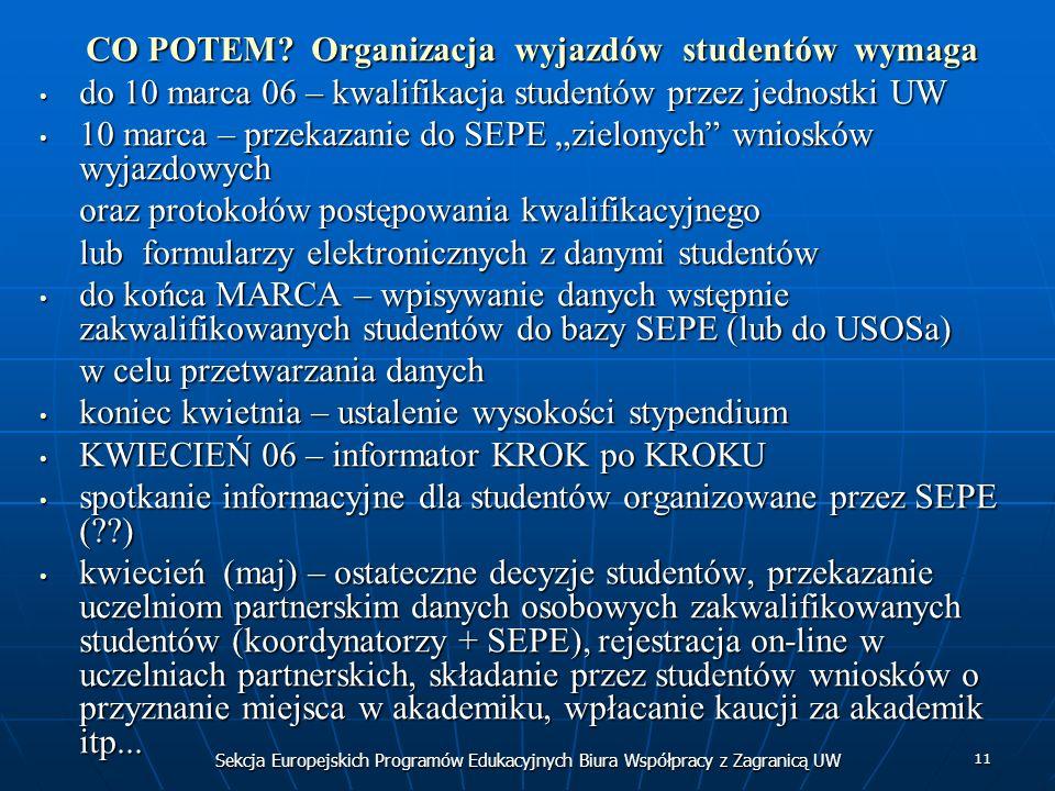 Sekcja Europejskich Programów Edukacyjnych Biura Współpracy z Zagranicą UW 11 CO POTEM? Organizacja wyjazdów studentów wymaga do 10 marca 06 – kwalifi