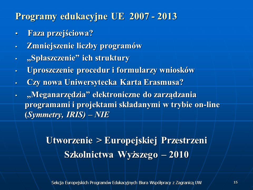 Sekcja Europejskich Programów Edukacyjnych Biura Współpracy z Zagranicą UW 15 Programy edukacyjne UE 2007 - 2013 Faza przejściowa.