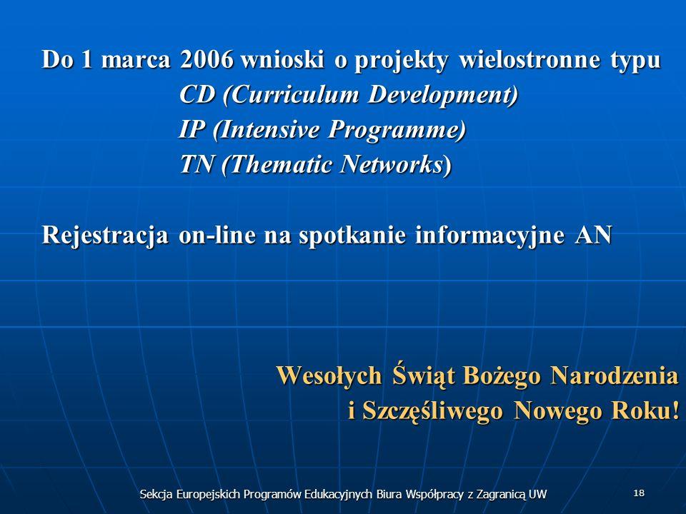 Sekcja Europejskich Programów Edukacyjnych Biura Współpracy z Zagranicą UW 18 Do 1 marca 2006 wnioski o projekty wielostronne typu CD (Curriculum Development) IP (Intensive Programme) TN (Thematic Networks) Rejestracja on-line na spotkanie informacyjne AN Wesołych Świąt Bożego Narodzenia i Szczęśliwego Nowego Roku!