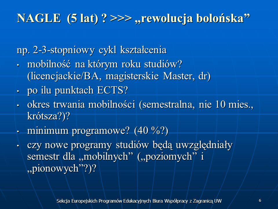 6 NAGLE (5 lat) ? >>> rewolucja bolońska np. 2-3-stopniowy cykl kształcenia mobilność na którym roku studiów? (licencjackie/BA, magisterskie Master, d