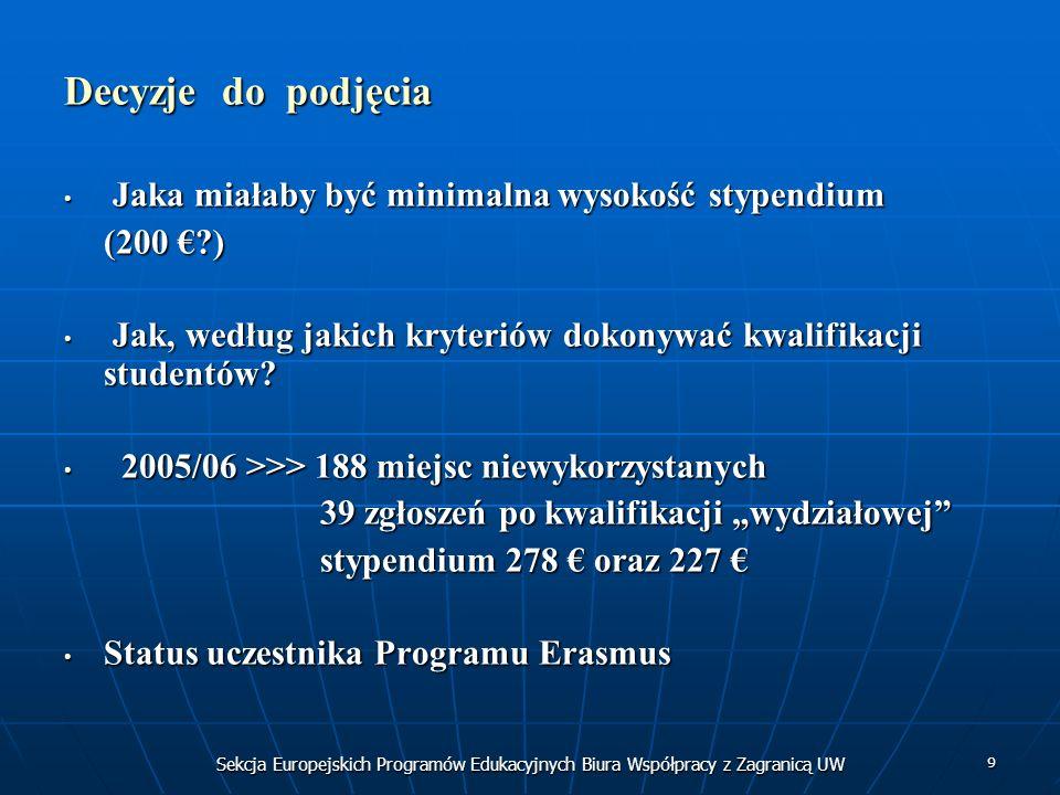 Sekcja Europejskich Programów Edukacyjnych Biura Współpracy z Zagranicą UW 9 Decyzje do podjęcia Jaka miałaby być minimalna wysokość stypendium Jaka miałaby być minimalna wysokość stypendium (200 ?) Jak, według jakich kryteriów dokonywać kwalifikacji studentów.