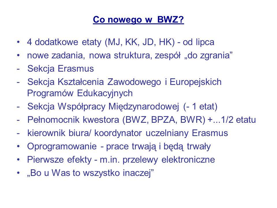 Co nowego w BWZ? 4 dodatkowe etaty (MJ, KK, JD, HK) - od lipca nowe zadania, nowa struktura, zespół do zgrania - Sekcja Erasmus - Sekcja Kształcenia Z