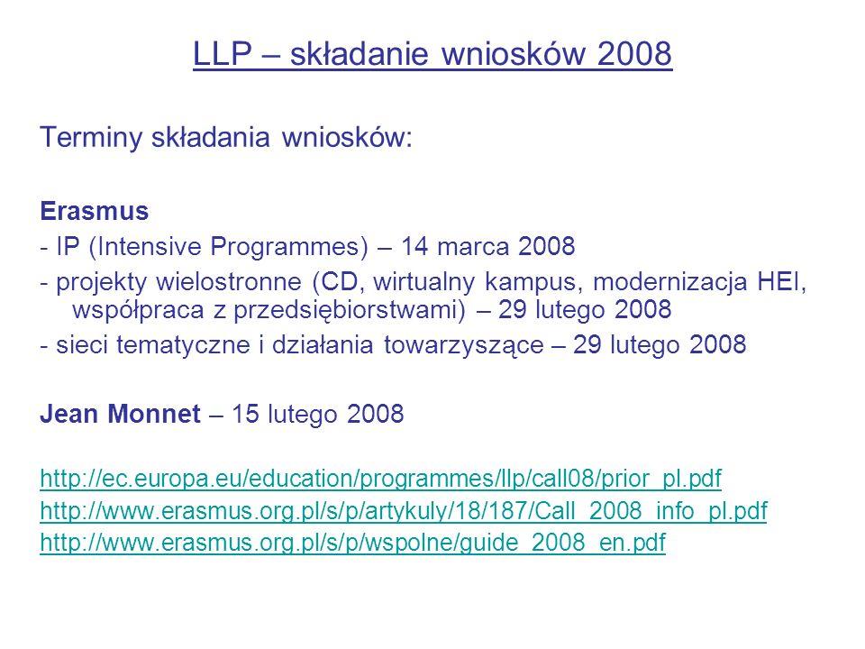 LLP – składanie wniosków 2008 Terminy składania wniosków: Erasmus - IP (Intensive Programmes) – 14 marca 2008 - projekty wielostronne (CD, wirtualny k