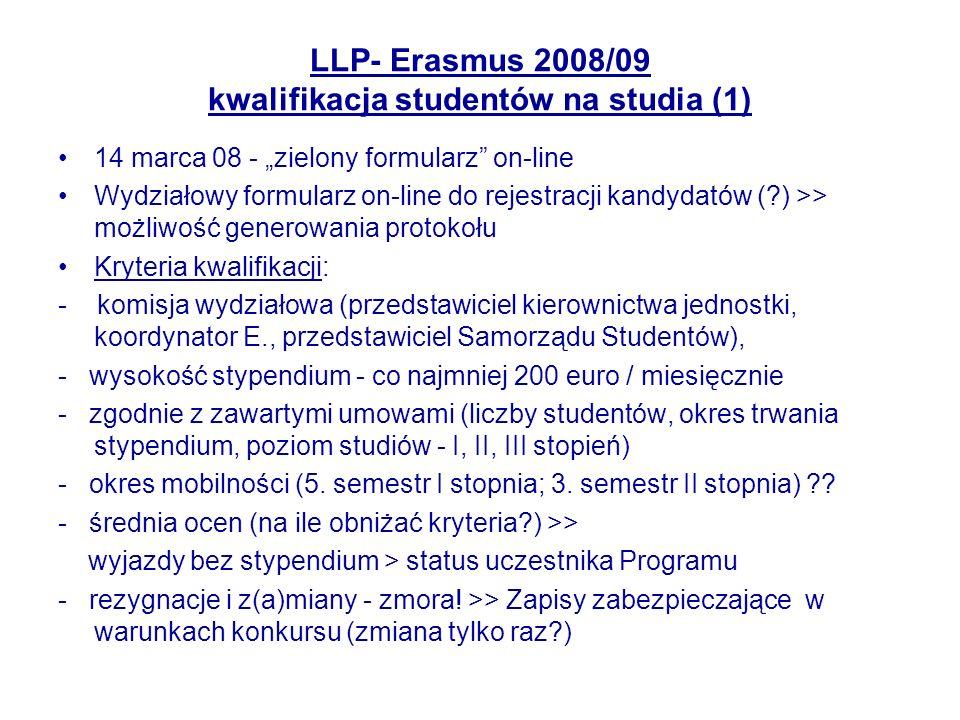 LLP- Erasmus 2008/09 kwalifikacja studentów na studia (1) 14 marca 08 - zielony formularz on-line Wydziałowy formularz on-line do rejestracji kandydat