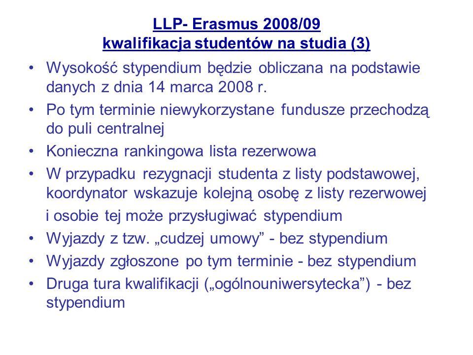 LLP- Erasmus 2008/09 kwalifikacja studentów na studia (3) Wysokość stypendium będzie obliczana na podstawie danych z dnia 14 marca 2008 r. Po tym term