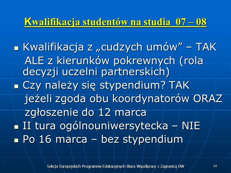Sekcja Europejskich Programów Edukacyjnych Biura Współpracy z Zagranicą UW 12 K walifikacja studentów na studia 07 – 08 Kwalifikacja z cudzych umów –