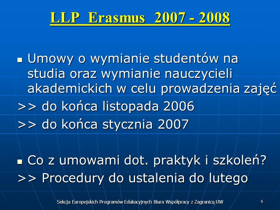 Sekcja Europejskich Programów Edukacyjnych Biura Współpracy z Zagranicą UW 5 LLP Erasmus 2007 - 2008 Umowy o wymianie studentów na studia oraz wymianie nauczycieli akademickich w celu prowadzenia zajęć Umowy o wymianie studentów na studia oraz wymianie nauczycieli akademickich w celu prowadzenia zajęć >> do końca listopada 2006 >> do końca stycznia 2007 Co z umowami dot.