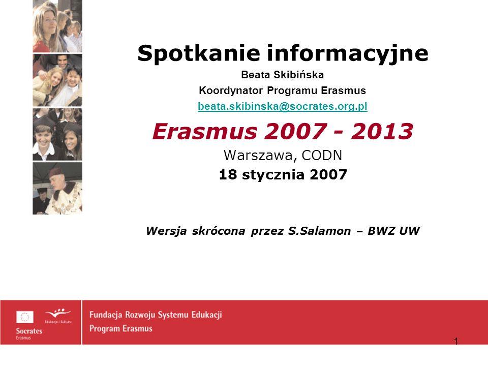 12 Projekty wielostronne typu Curriculum Development (CD) Wspólne opracowanie europejskich modułów (<<< Erasmus Mundus) Wspólne opracowanie programu studiów (<<< Erasmus Mundus) –Zagadnienia priorytetowe: integrated programmes – opracowanie, wdrożenie, wielojęzyczność, różnorodność językowa, programy kształcenia ustawicznego