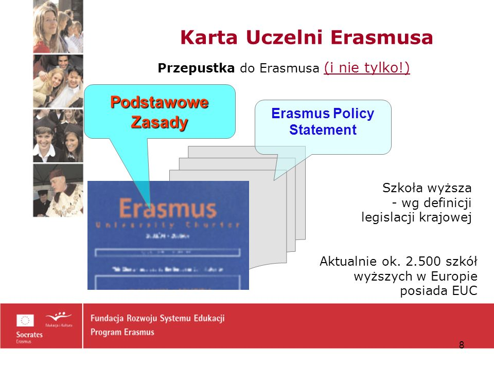 19 Wniosek o uzyskanie Karty Uczelni Erasmusa (2) E rasmus P olicy S tatement I część I część - opis polityki i strategii uczelni dot.