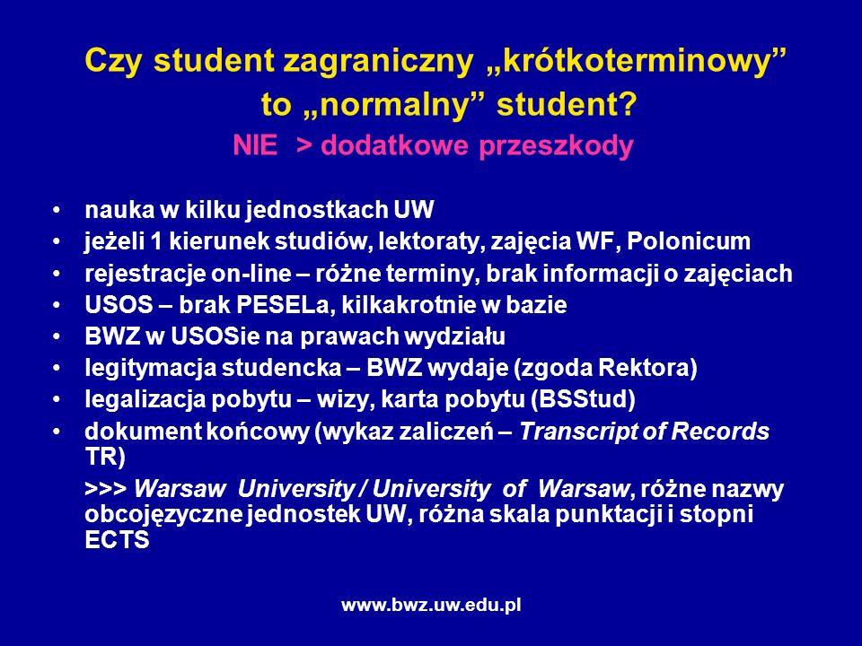 www.bwz.uw.edu.pl Czy student zagraniczny krótkoterminowy to normalny student.