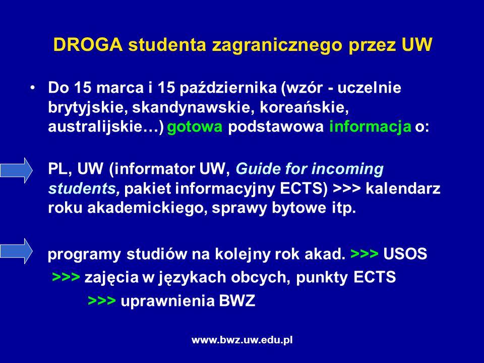 www.bwz.uw.edu.pl DROGA studenta zagranicznego przez UW Do 15 marca i 15 października (wzór - uczelnie brytyjskie, skandynawskie, koreańskie, australijskie…) gotowa podstawowa informacja o: PL, UW (informator UW, Guide for incoming students, pakiet informacyjny ECTS) >>> kalendarz roku akademickiego, sprawy bytowe itp.