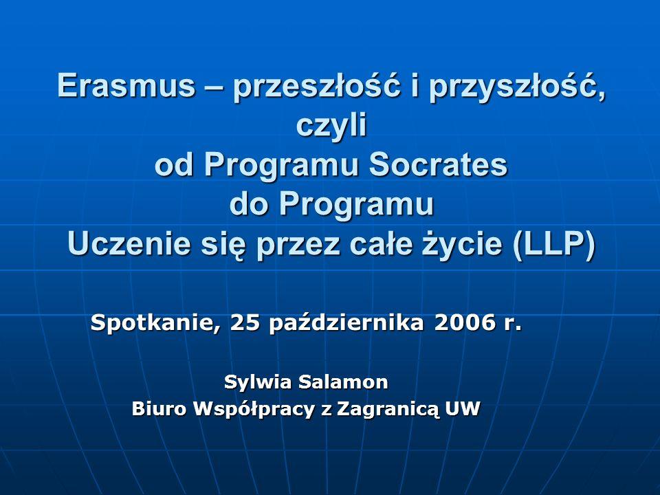 Erasmus – przeszłość i przyszłość, czyli od Programu Socrates do Programu Uczenie się przez całe życie (LLP) Spotkanie, 25 października 2006 r.