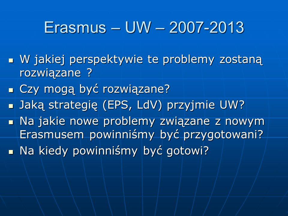 Erasmus – UW – 2007-2013 W jakiej perspektywie te problemy zostaną rozwiązane .