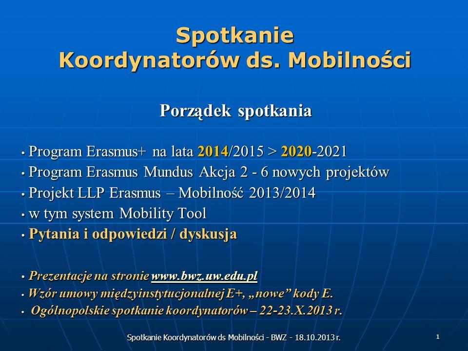 Spotkanie Koordynatorów ds Mobilności - BWZ - 18.10.2013 r. 1 Spotkanie Koordynatorów ds. Mobilności Porządek spotkania Program Erasmus+ na lata 2014/