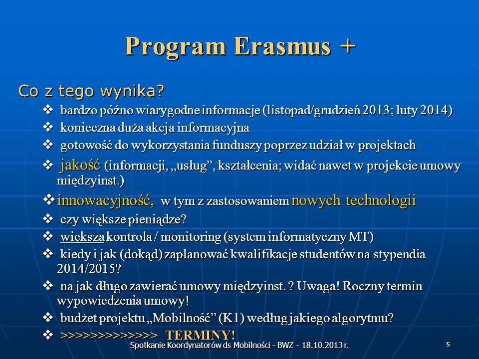 Spotkanie Koordynatorów ds Mobilności - BWZ - 18.10.2013 r. 5 Program Erasmus + Co z tego wynika? bardzo późno wiarygodne informacje (listopad/grudzie