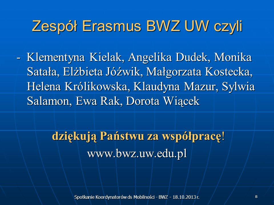 Spotkanie Koordynatorów ds Mobilności - BWZ - 18.10.2013 r. 8 Zespół Erasmus BWZ UW czyli - Klementyna Kielak, Angelika Dudek, Monika Satała, Elżbieta