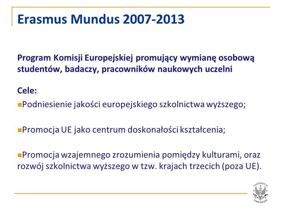 Erasmus Mundus 2007-2013 Program Komisji Europejskiej promujący wymianę osobową studentów, badaczy, pracowników naukowych uczelni Cele: Podniesienie j