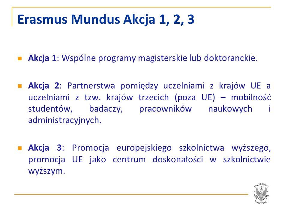 Erasmus Mundus Akcja 1, 2, 3 Akcja 1: Wspólne programy magisterskie lub doktoranckie. Akcja 2: Partnerstwa pomiędzy uczelniami z krajów UE a uczelniam