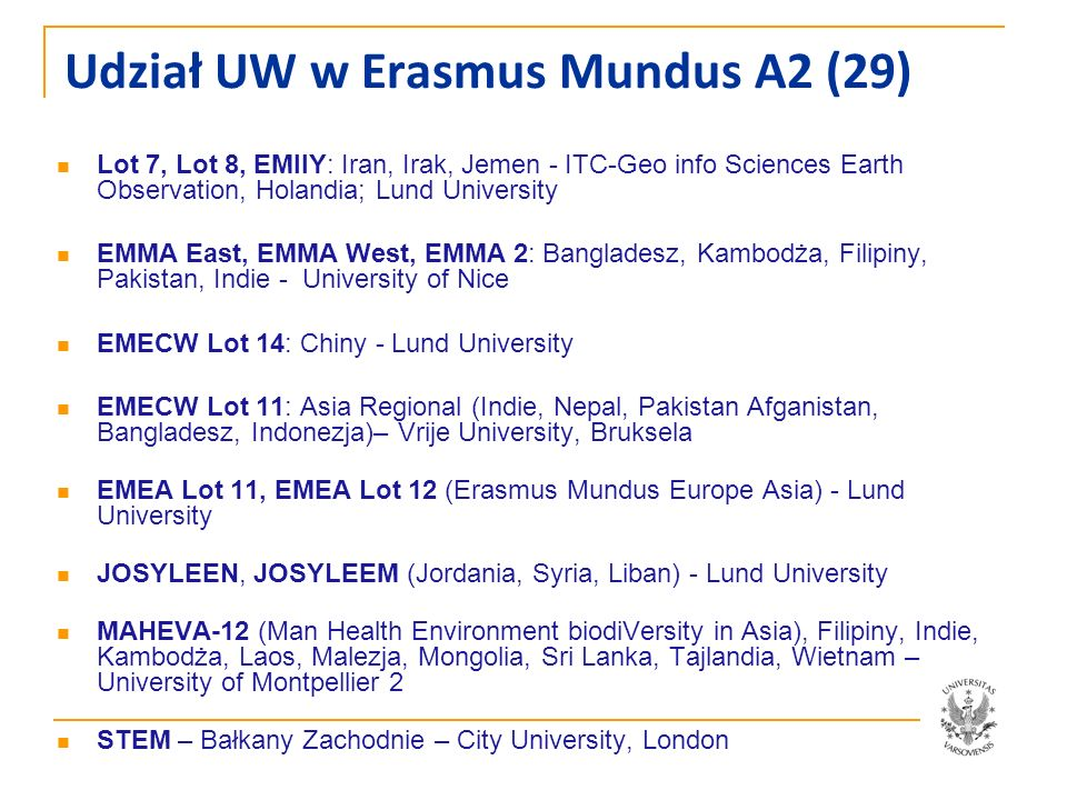 Udział UW w Erasmus Mundus A2 (29) Lot 7, Lot 8, EMIIY: Iran, Irak, Jemen - ITC-Geo info Sciences Earth Observation, Holandia; Lund University EMMA Ea