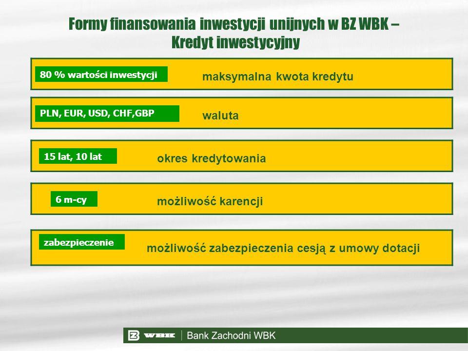 maksymalna kwota kredytu waluta okres kredytowania 15 lat, 10 lat PLN, EUR, USD, CHF,GBP 80 % wartości inwestycji Formy finansowania inwestycji unijny