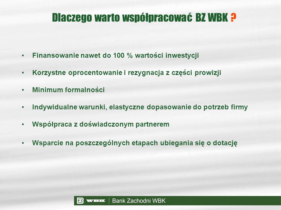 Dlaczego warto współpracować BZ WBK ? Finansowanie nawet do 100 % wartości inwestycji Korzystne oprocentowanie i rezygnacja z części prowizji Minimum