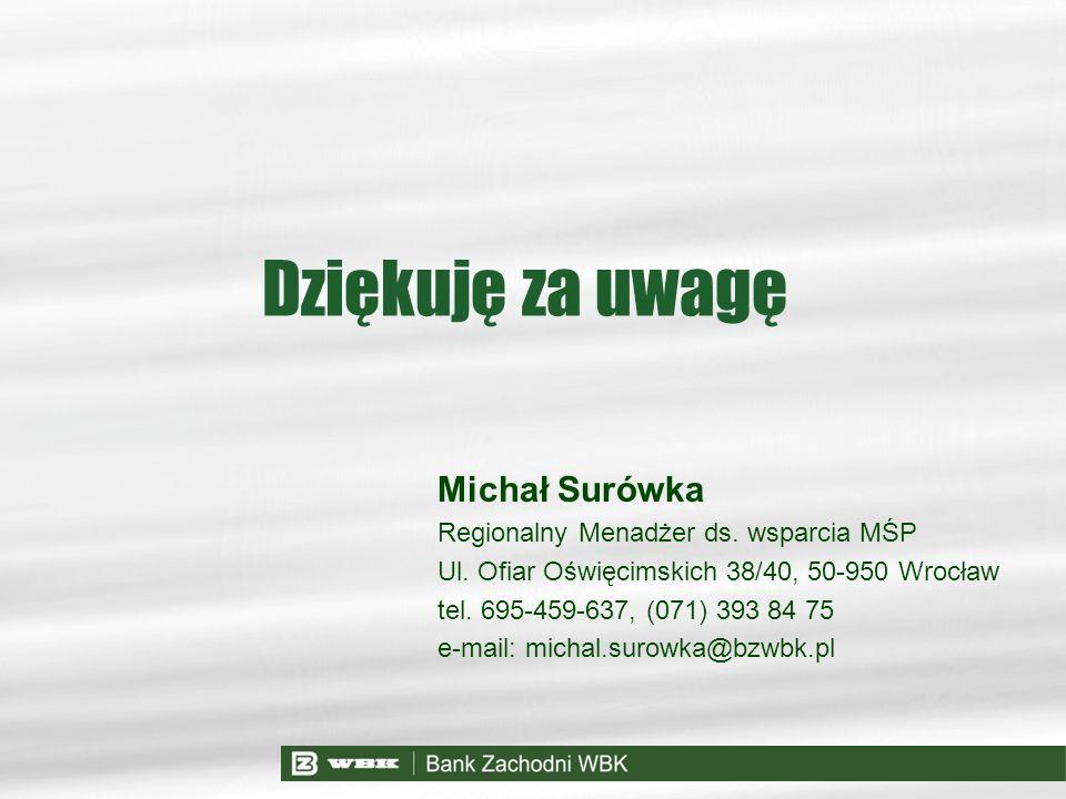 Michał Surówka Regionalny Menadżer ds. wsparcia MŚP Ul. Ofiar Oświęcimskich 38/40, 50-950 Wrocław tel. 695-459-637, (071) 393 84 75 e-mail: michal.sur