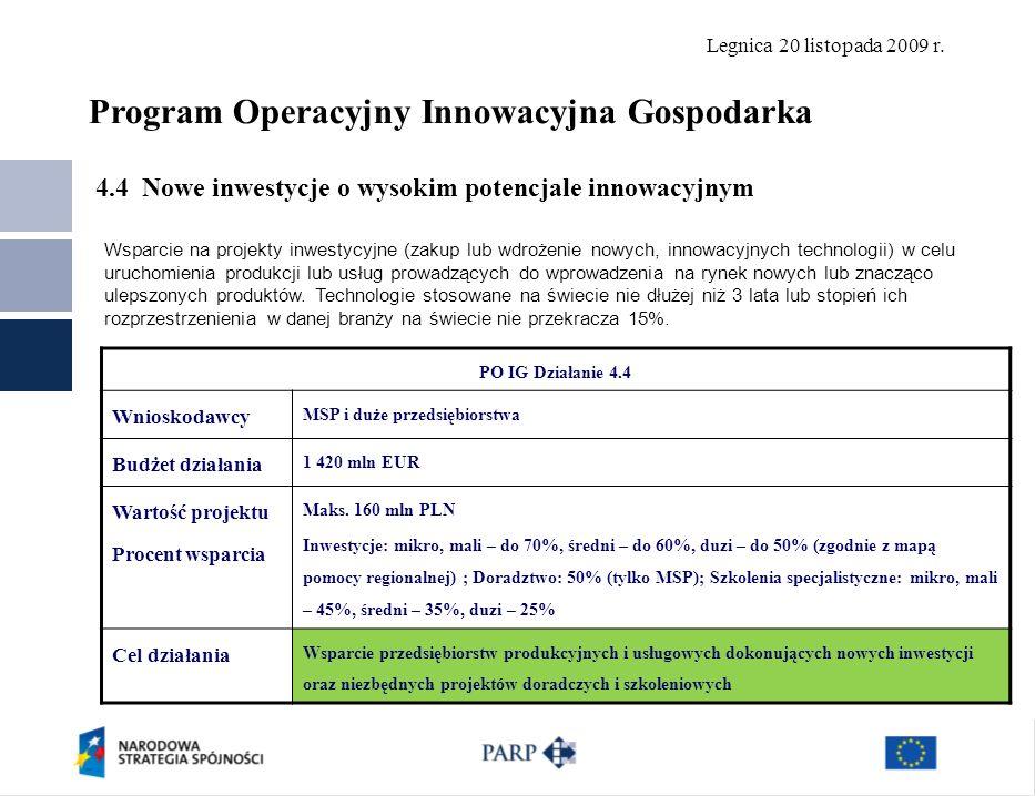 Legnica 20 listopada 2009 r. 4.4 Nowe inwestycje o wysokim potencjale innowacyjnym Polska Agencja Rozwoju Przedsiębiorczości ©18 PO IG Działanie 4.4 W
