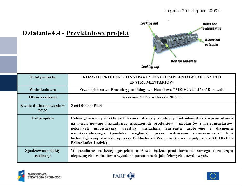 Legnica 20 listopada 2009 r. Działanie 4.4 - Przykładowy projekt Tytuł projektuROZWÓJ PRODUKCJI INNOWACYJNYCH IMPLANTÓW KOSTNYCH I INSTRUMENTARIÓW Wni